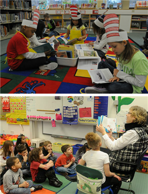 Students and Teachers reading stories