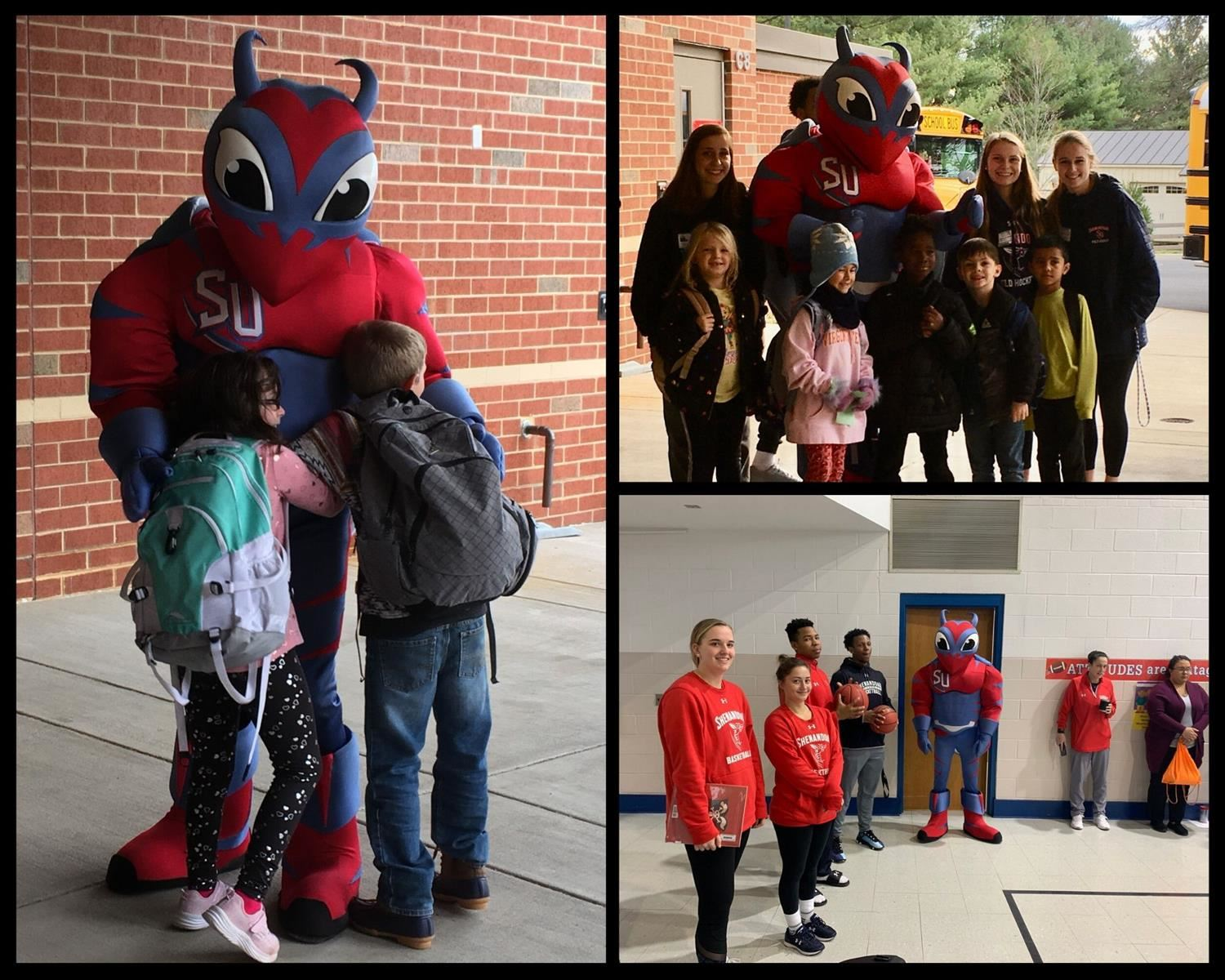 students and college basketball players with Buzzy the mascot