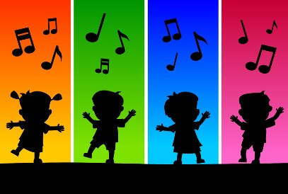 silhouettes of children dancing and musical notes on colored background