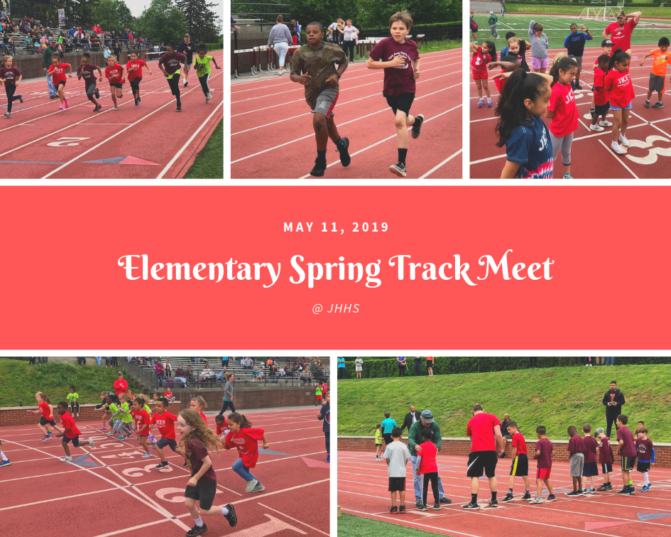 students running the Elementary Spring Track Meet on May 11, 2019 at JHHS