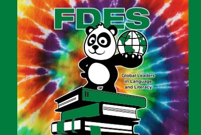 FDES Mascot on a Tie Dye background