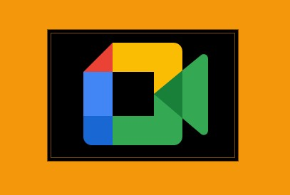 Google Meet New Icon on black and orange background