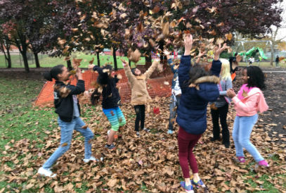 students playing in the leaves