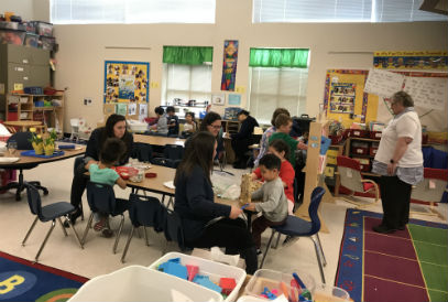 students and staff in a Preschool classroom