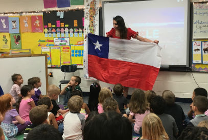 Ms. Petrowitsch teaches students about Chile.