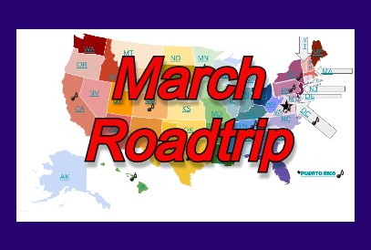 March Roadtrip map of the United States
