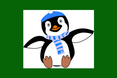 penguin wearing a scarf clipart