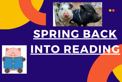 Spring Back into Reading clipart of pig reading a book, photo of two pigs