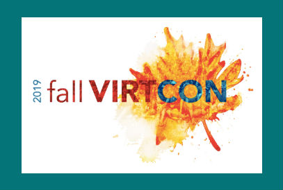2019 fall VIRTCON logo with a leaf