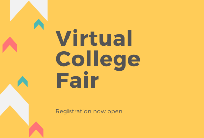 yellow background with text saying Virtual College Fair registration now open