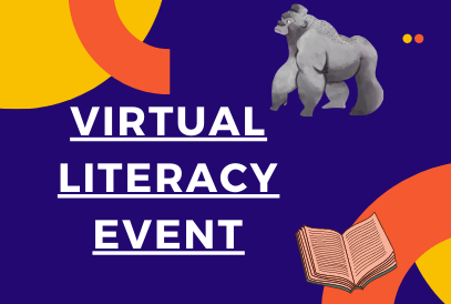 Virtual Literacy Event- clipart gorilla and book