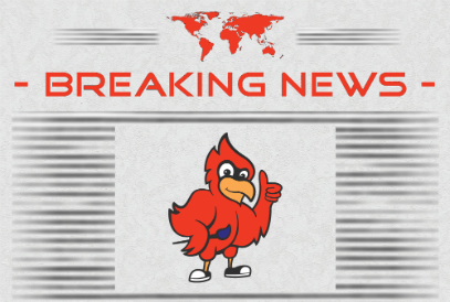 Newspaper with Breaking News headline and red cardinal logo