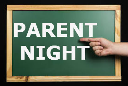 Hand pointing to the words Parent Night on a green chalkboard