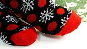 red, black, white snowflake socks