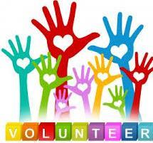 Volunteer with hands and hearts